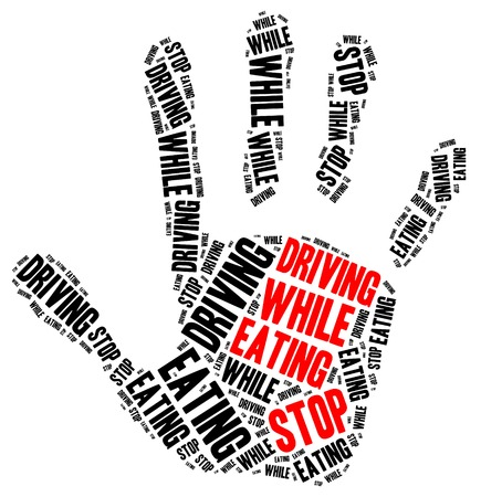 distraction: Stop eating while driving. Word cloud illustration. Stock Photo
