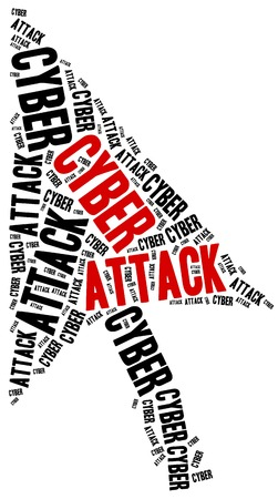 cyber attack: Cyber attack or internet crime. Word cloud illustration.