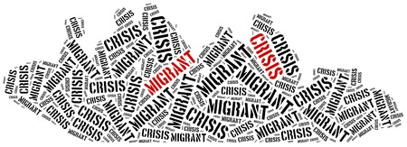 middle east crisis: Syrian migrant or refugees crisis in Europe. Word cloud illustration.