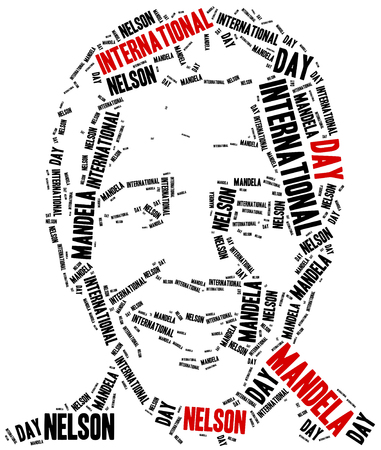 mandela: Katowice, Poland - August 29, 2015: A word cloud portrait illustration of Nelson Mandela, related to International Nelson Mandela Day celebrated on July 18. Editorial