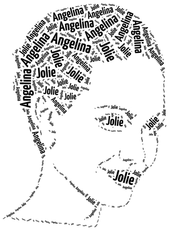 angelina jolie: Katowice, Poland - August 29, 2015: A word cloud portrait illustration of Angelina Jolie, famous american actress.