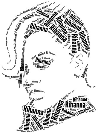 siluetas de mujeres: Katowice, Polonia - 29 de agosto de 2015: Una ilustración del retrato nube de palabras de Rihanna, cantante famoso. Editorial