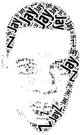 jay: Katowice, Poland - August 29, 2015: A word cloud portrait illustration of Jay-Z, famous rap singer.