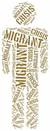migrant: Syrian migrant or refugees crisis in Europe. Word cloud illustration.