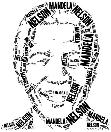 Katowice, Poland - August 29, 2015: A word cloud portrait illustration of Nelson Mandela, famous african politician.
