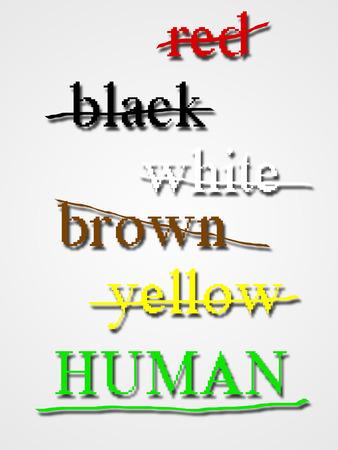 racismo: El racismo o el concepto de la discriminación racial. Foto de archivo