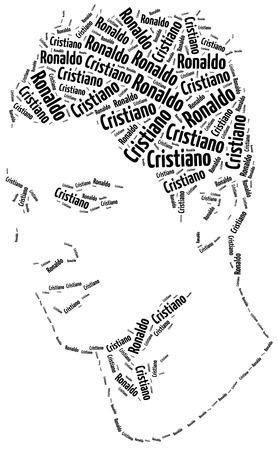Katowice, Poland - August 29, 2015: A word cloud portrait illustration of Cristiano Ronaldo, famous football player.
