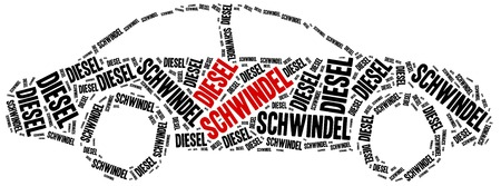 emission: Diesel scandal. Concept related to cheating in pollution emission tests. German inscription stands: diesel deception.