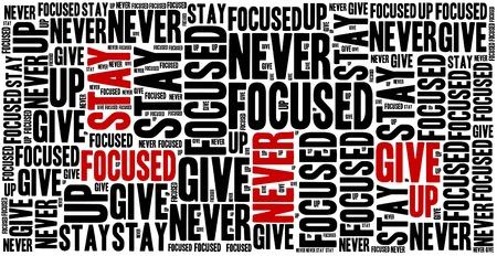 oracion: Mant�ngase enfocado, nunca te rindas. Frase motivaci�n. Concepto frase inspirada. Foto de archivo