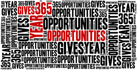 sentence: Year gives 365 opportunities. Motivational sentence. Inspirational phrase concept.
