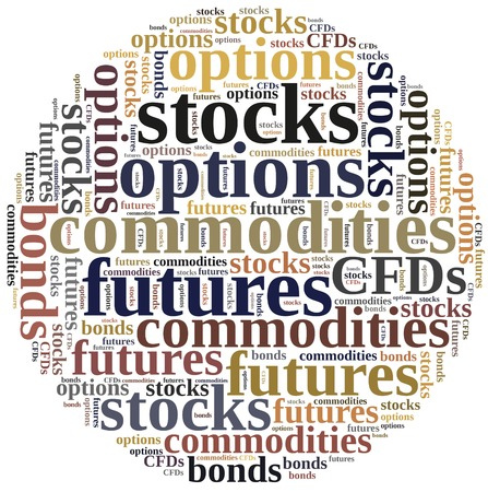 financial diversification: Different types of financial instruments. Investing in commodities, stocks, options, futures or bonds.