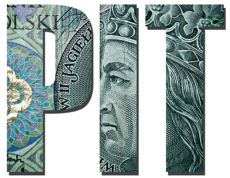 income tax: PIT. Personal income tax. Inscription with polish banknote, 100 zloty pattern.
