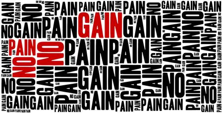 oracion: Sin dolor no hay ganancia. Frase motivación. Concepto frase inspirada.