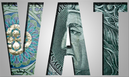 vat: VAT. Value added tax. Inscription with polish banknote, 100 zloty pattern.