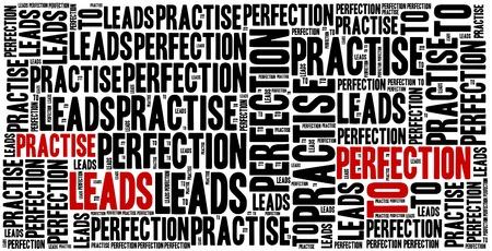 frase: Practicar conduce a la perfección. Frase motivación. Concepto frase inspirada. Foto de archivo