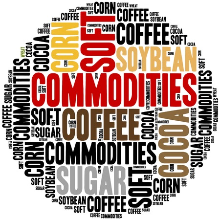 stock trading: Soft commodities tradable on financial markets. Agricultural products. Stock Photo