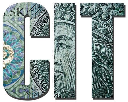 income tax: CIT. Corporate income tax. Inscription with polish banknote, 100 zloty pattern. Stock Photo