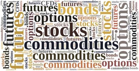 commodities: Los diferentes tipos de instrumentos financieros. Invertir en materias primas, acciones, opciones, futuros o bonos. Foto de archivo