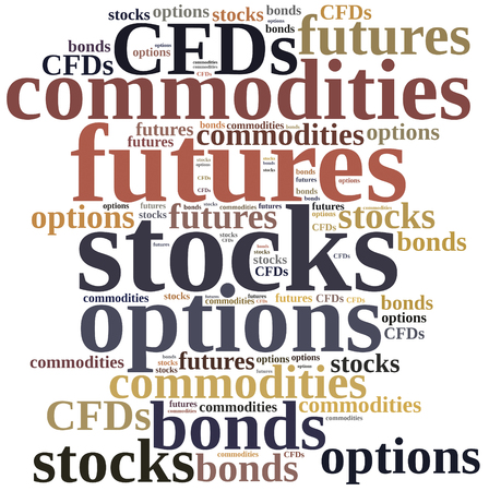 commodities: Different types of financial instruments. Investing in commodities, stocks, options, futures or bonds.