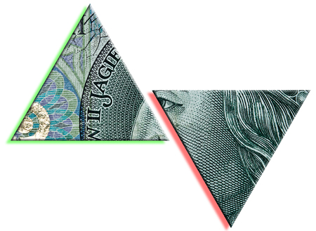 decline in values: Polish Zloty or PLN increase and drop. Polish paper money or banknotes texture. Stock Photo
