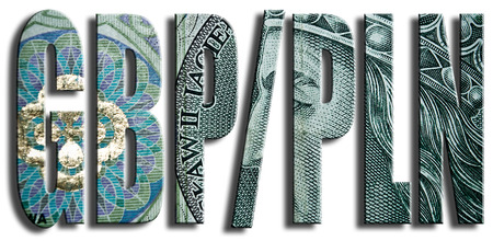 british pound: GBPPLN. British Pound and Polish Zloty exchange currencies. Polish paper money or banknotes texture.