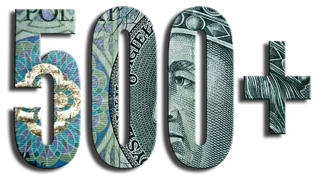 expenditure: 500 Social policy in Polad assuming government Expenditure of 500 PLN for second and next child. Polish paper money or banknotes texture. Stock Photo