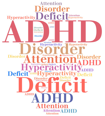deficit: ADHD - Attention deficit hyperactivity disorder. Disease abbreviation. Stock Photo