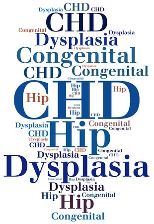 dysplasia: CHD - Congenital Hip Dysplasia. Disease abbreviation.