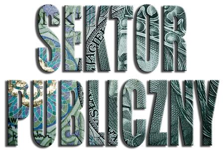 non cash: Sektor publiczny - public sector. 100 PLN or Polish Zloty texture.