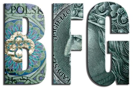financial sector: BFG - Bankowy Fundusz Gwarancyjny, Banking Guarantee Fund, polish organization in financial sector. 100 PLN or Polish Zloty texture. Stock Photo