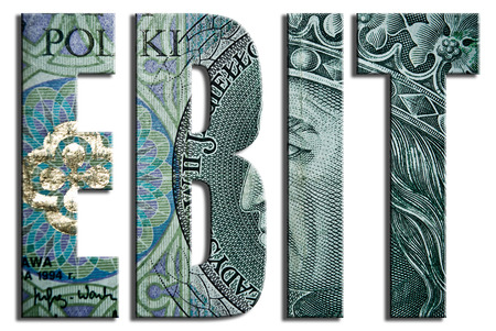 zloty: EBIT - Earnings before interest and taxes. 100 PLN or Polish Zloty texture. Stock Photo