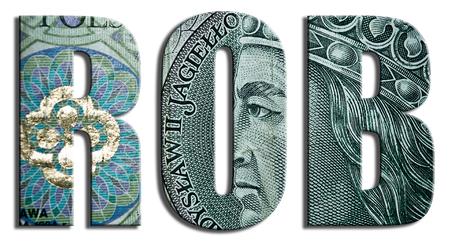 zloty: ROB - Rachunek obrotow bierzacych - current account. 100 PLN or Polish Zloty texture. Stock Photo