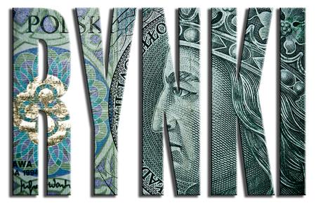 trading floor: Rynki - markets. 100 PLN or Polish Zloty texture. Stock Photo