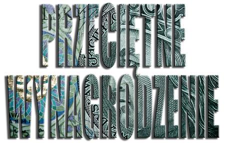 Przecietne wynagrodzenie - Average wage. 100 PLN or Polish Zloty texture. Stock Photo