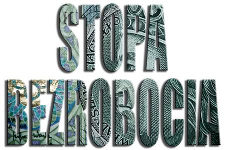 unemployment rate: Stopa bezrobocia - unemployment rate. 100 PLN or Polish Zloty texture. Stock Photo