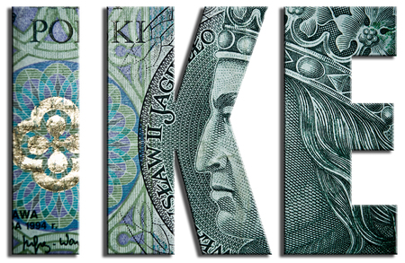 zloty: IKE, Individual pension fund. 100 PLN or Polish Zloty texture. Stock Photo