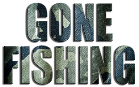 Gone fishing. Camouflage textured text.