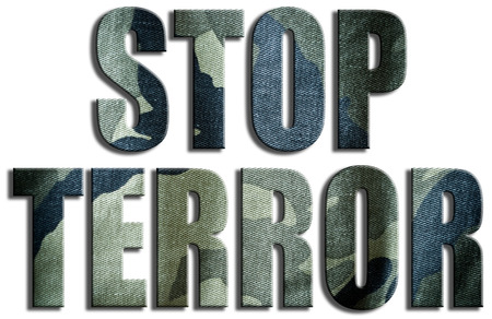 terror: Stop terror. Camouflage textured text. Stock Photo