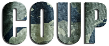gunfire: Coup. Camouflage textured text.