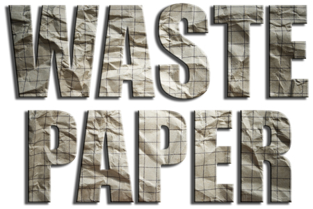 waste paper: Waste paper. Wrinkled grunge paper textured text. Stock Photo