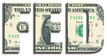 federal: FED - Federal Reserve System. American central bank. US Dollar texture.