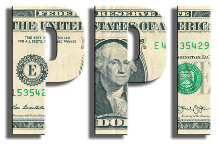 PPI - 生産者物価指数 - マクロ経済指標関連工業製品価格変更。米ドルのテクスチャです。 写真素材