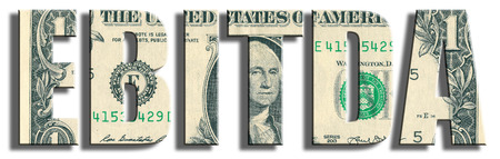 before: EBITDA - Earnings Before Interest Taxes Depreciation and Amortization. US Dollar texture. Stock Photo