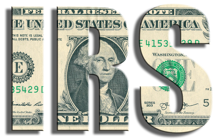 IRS - Internal Revenue Service. US Dollar texture.
