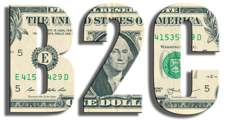 b2c: B2C - business to consumer. US Dollar texture.
