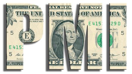 PMI - Purchasing Managers Index - macroeconomic indicator .US Dollar texture.