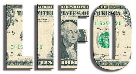 adentro y afuera: LIFO - Last In First Out - gestión de los recursos. textura de dólar americano. Ilustración 3D.