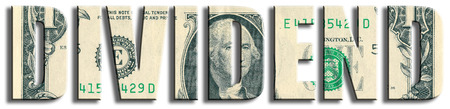 dividend: Dividend - profit or interest from company shares. US Dollar texture. 3D illustration.