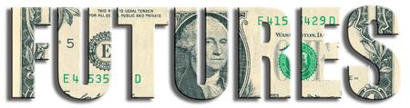 futures: Futures - type of financial instrument. US Dollar texture. 3D illustration.