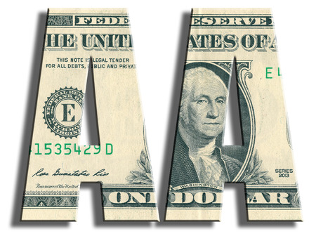 speculative: AA Credit rating. US Dollar texture. 3D illustration.